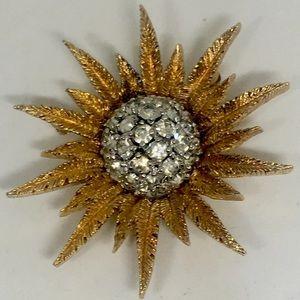 Gold Silver Tone Starburst Flower Leaf Brooch Pin